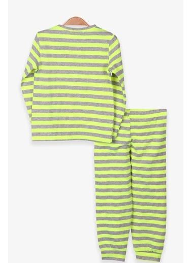 Breeze Erkek Çocuk Pijama Takımı Çizgili Neon Yeşil (1.5-3 Yaş) Yeşil